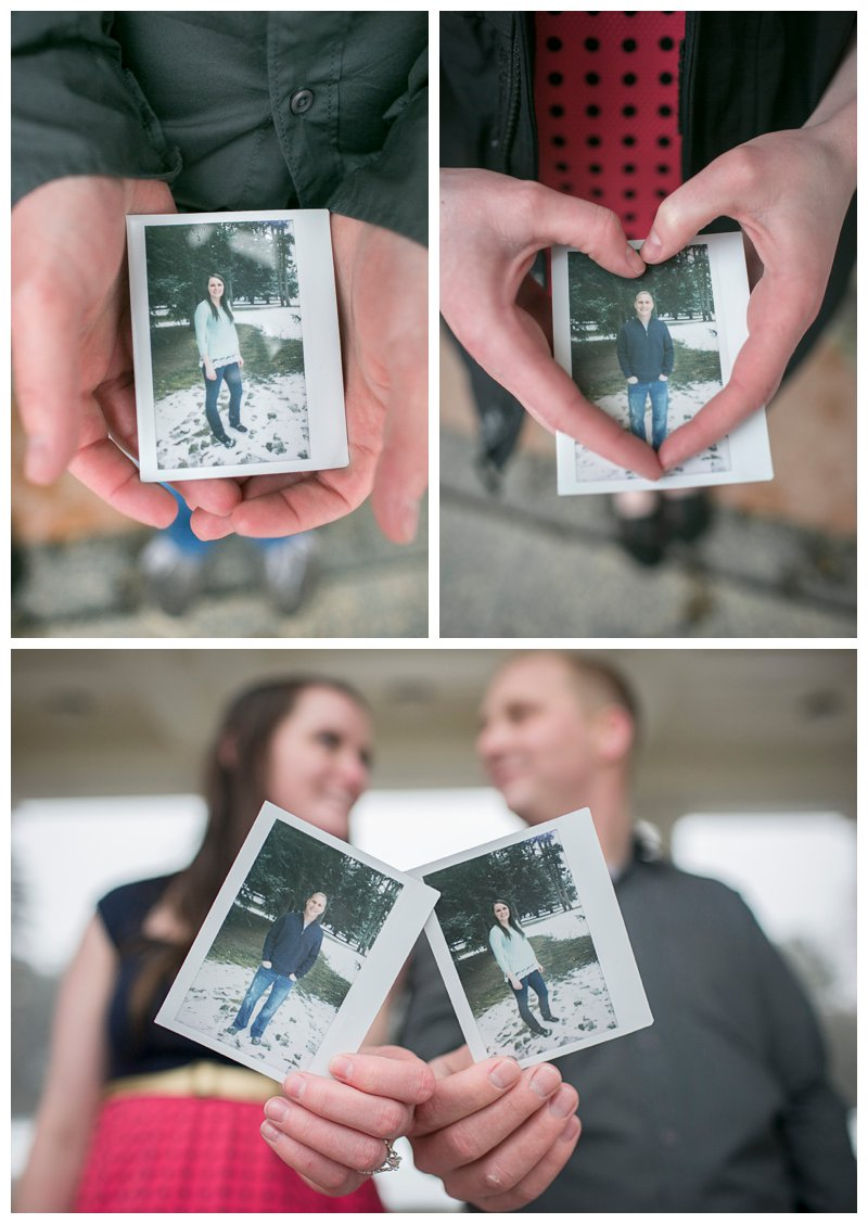 polaroid, engagement, photography