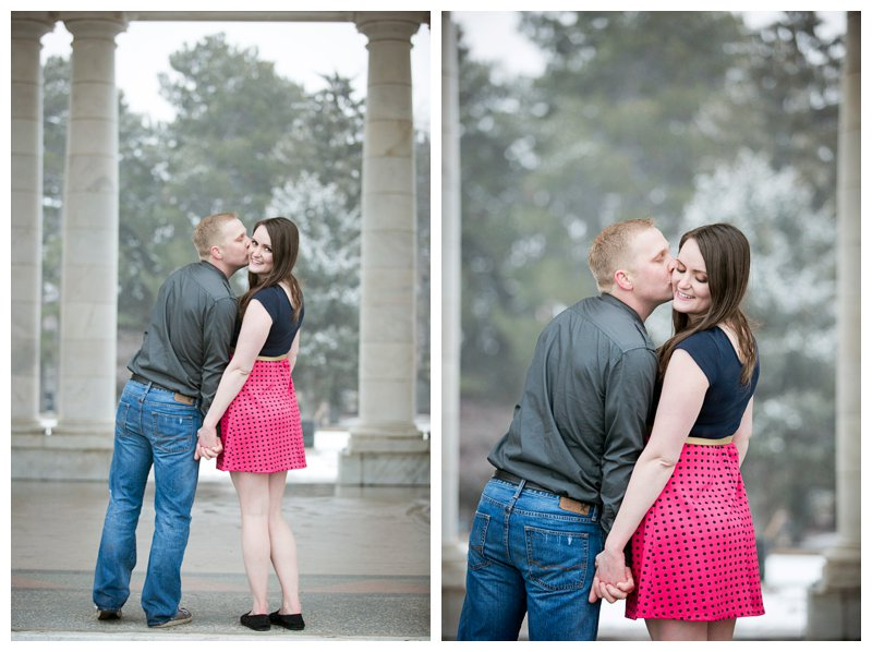 kiss engagement winter photography